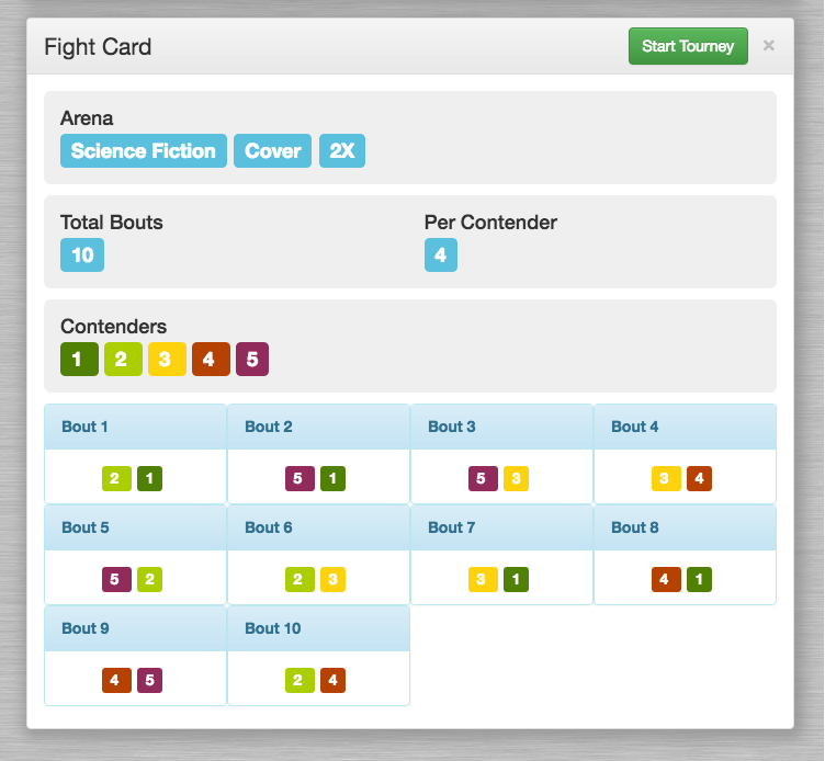 Arena - Fight Cage - Fight Card