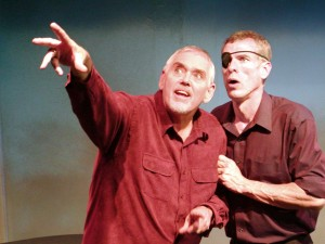 Actors Jim Brochu and Steve Schalchlin performing in the play The Big Voice: God or Merman - by Bev Sykes