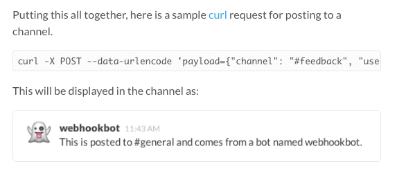 Slack Incoming Webhook Test Curl