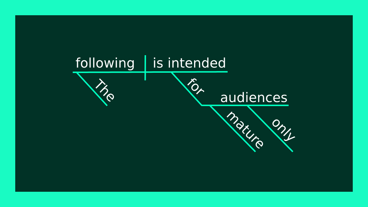 "Sentence diagram of ""The following is intended only for mature audiences."""